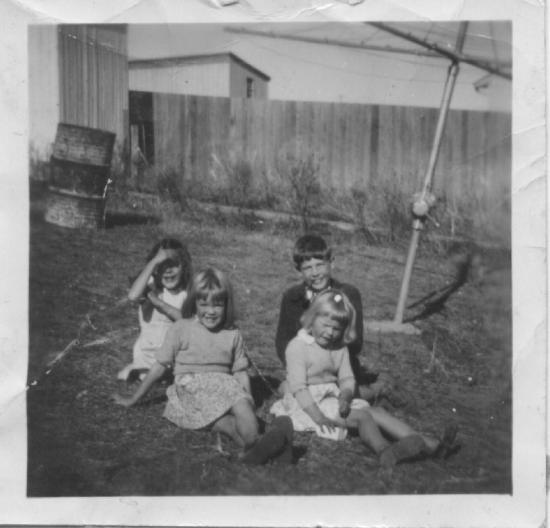 Pauline, Linda, Peter, Sheelagh at Aunty Mary's 1954